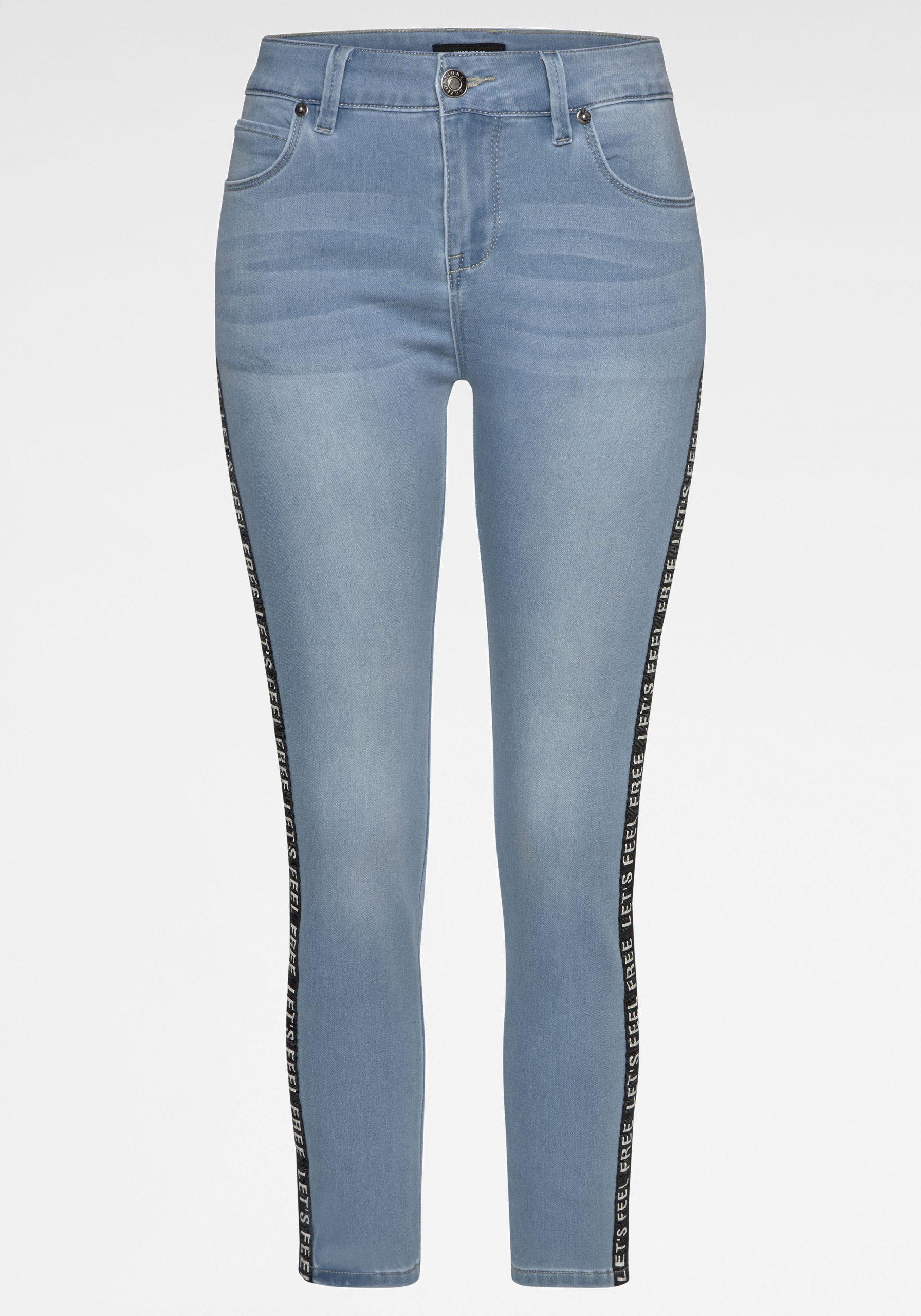 Damen Jeans mit Zierstreifen hellblau