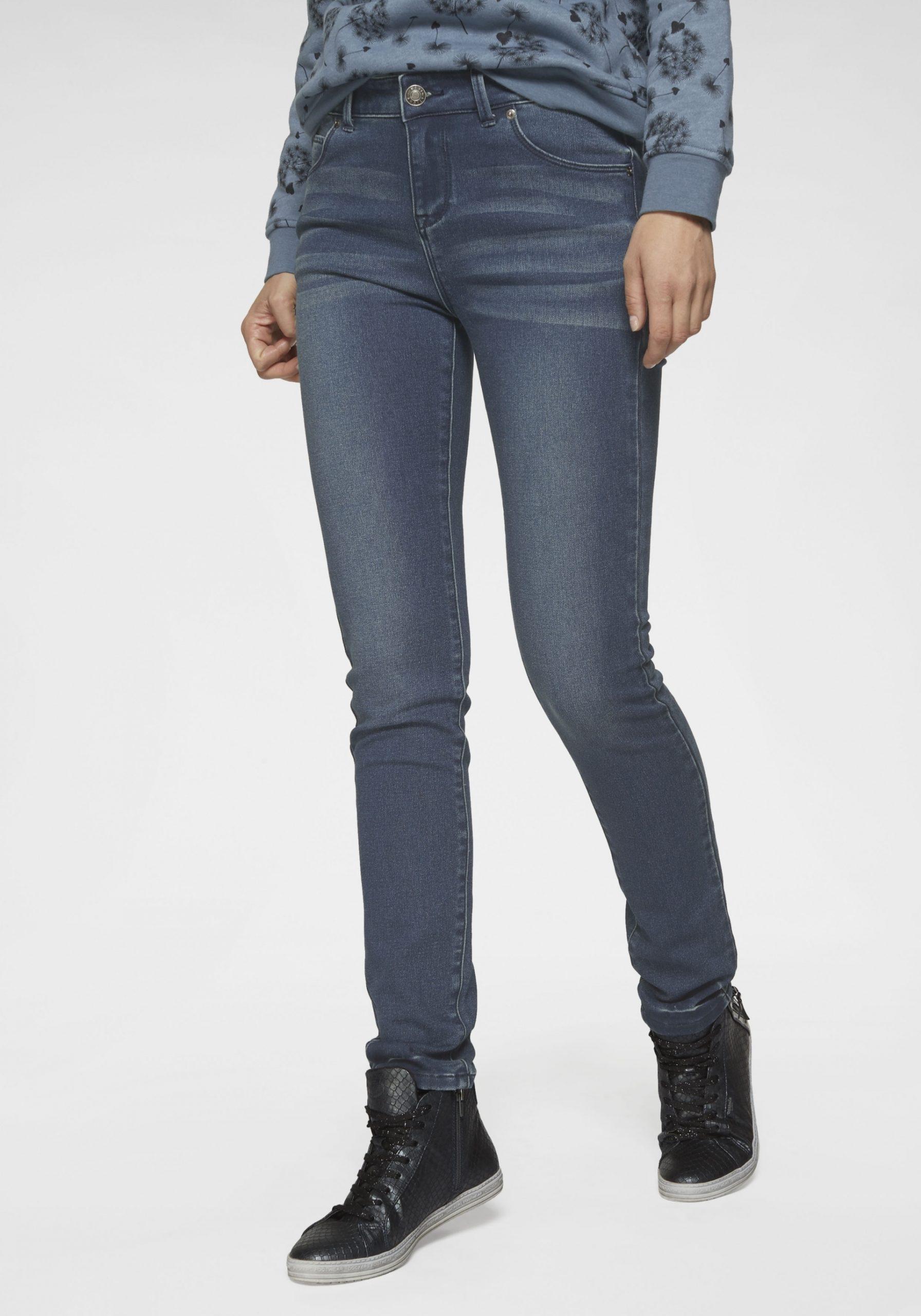 Damen Elastische Slim-Fit-Jeans dunkelblau