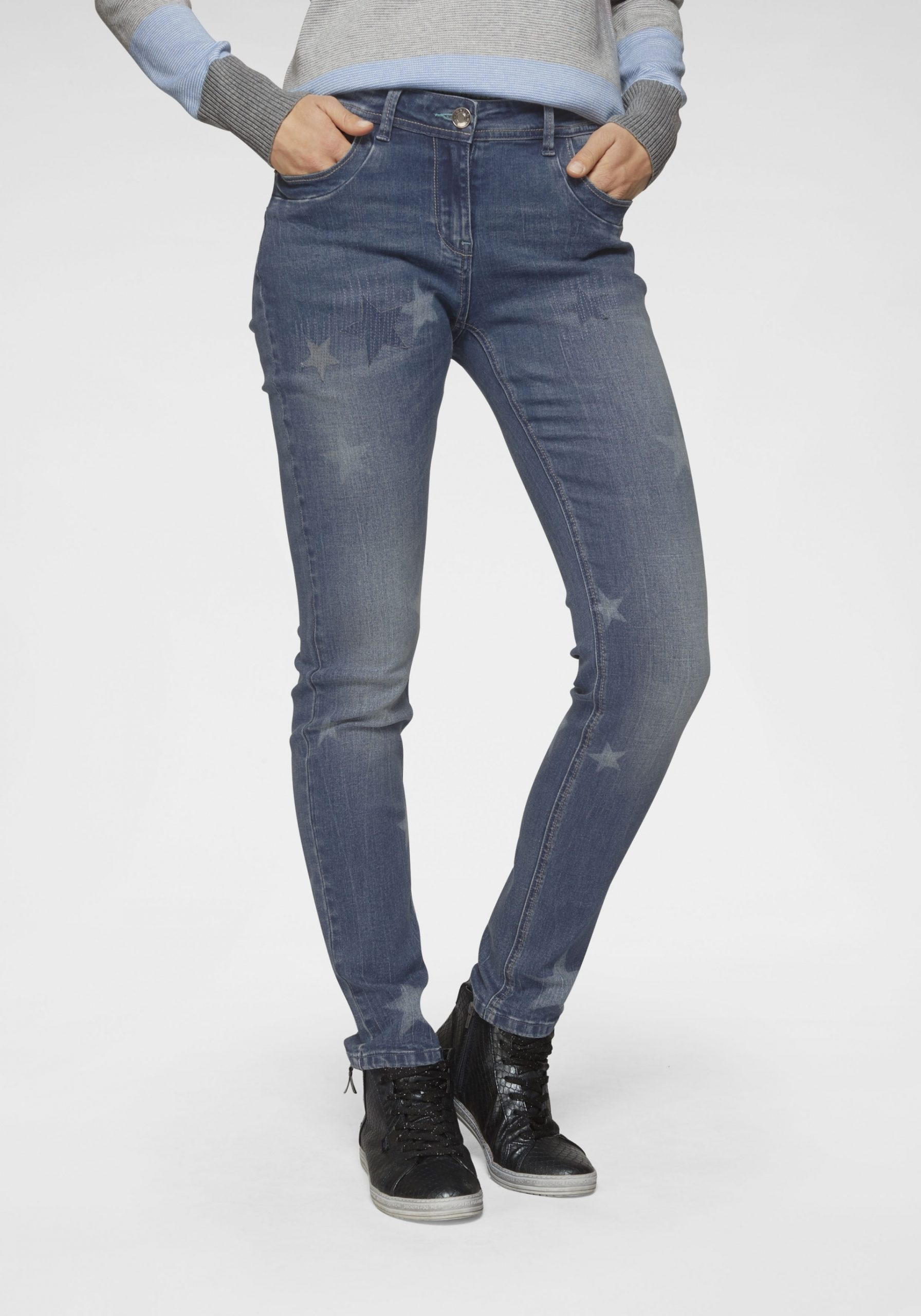 Damen Schmale Jeans mit Sternenprint dunkelblau