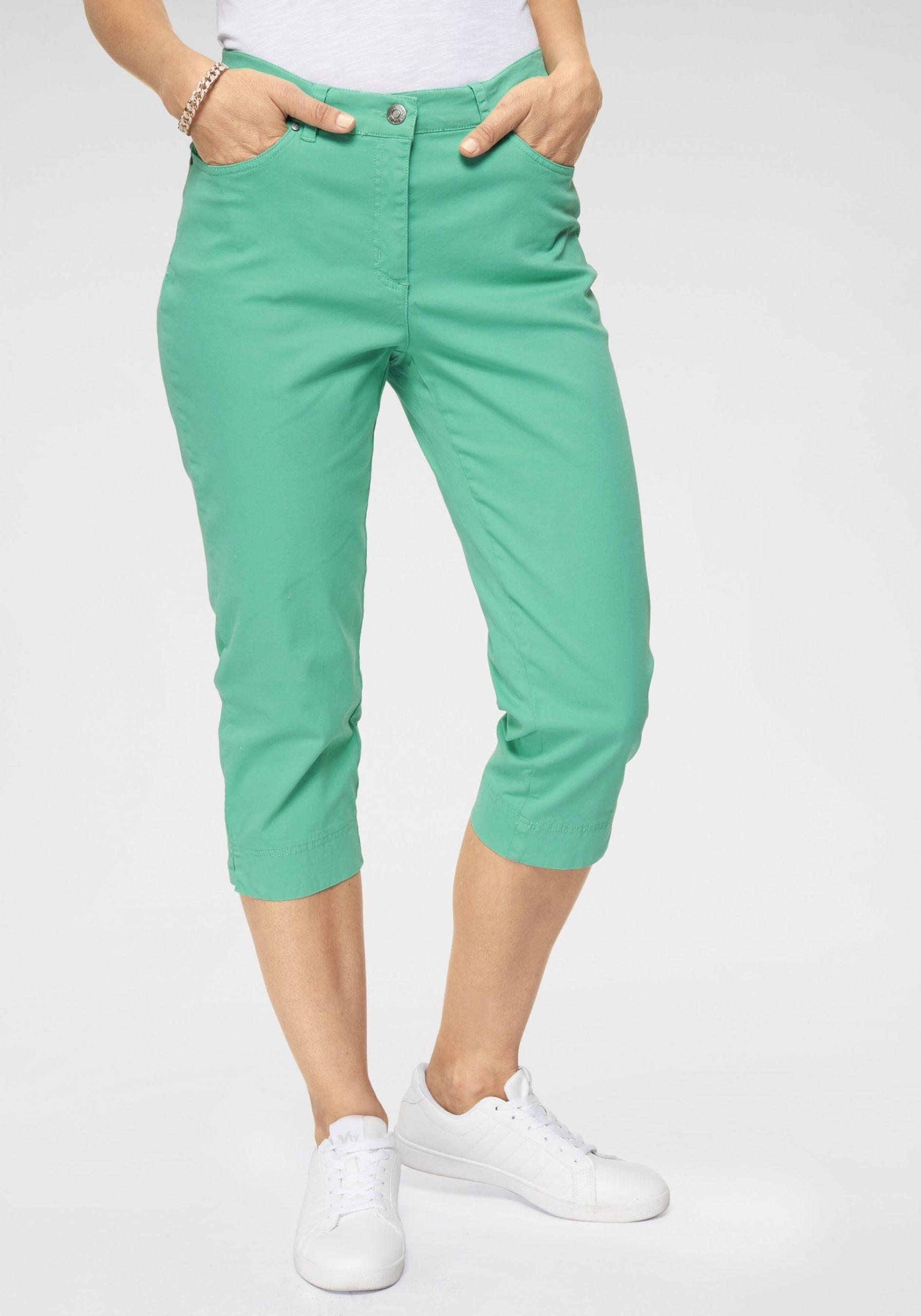 Damen Feste Caprihose in starker Farbe grün