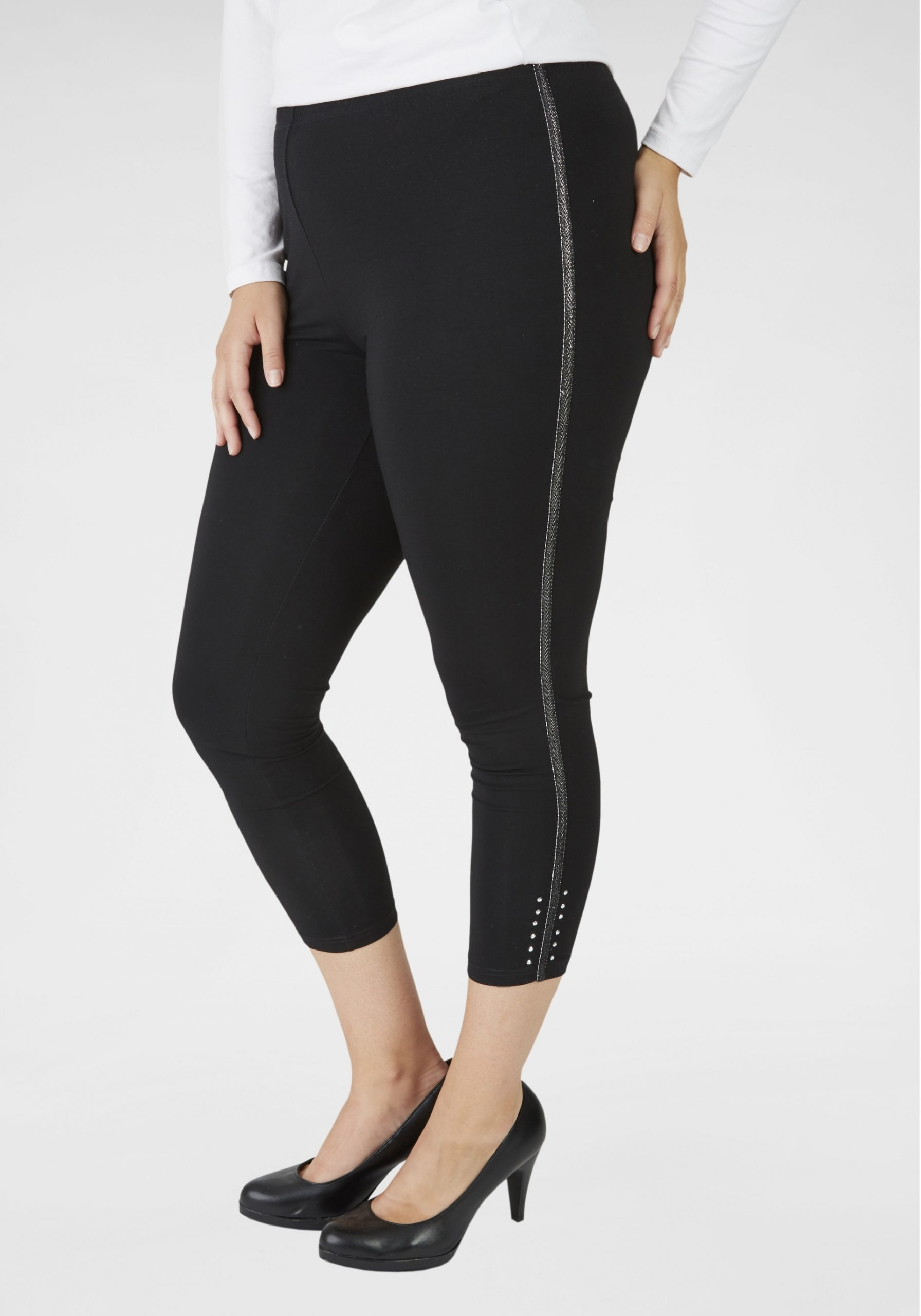 Damen Capri-Leggings mit Galonstreifen in großen Größen schwarz