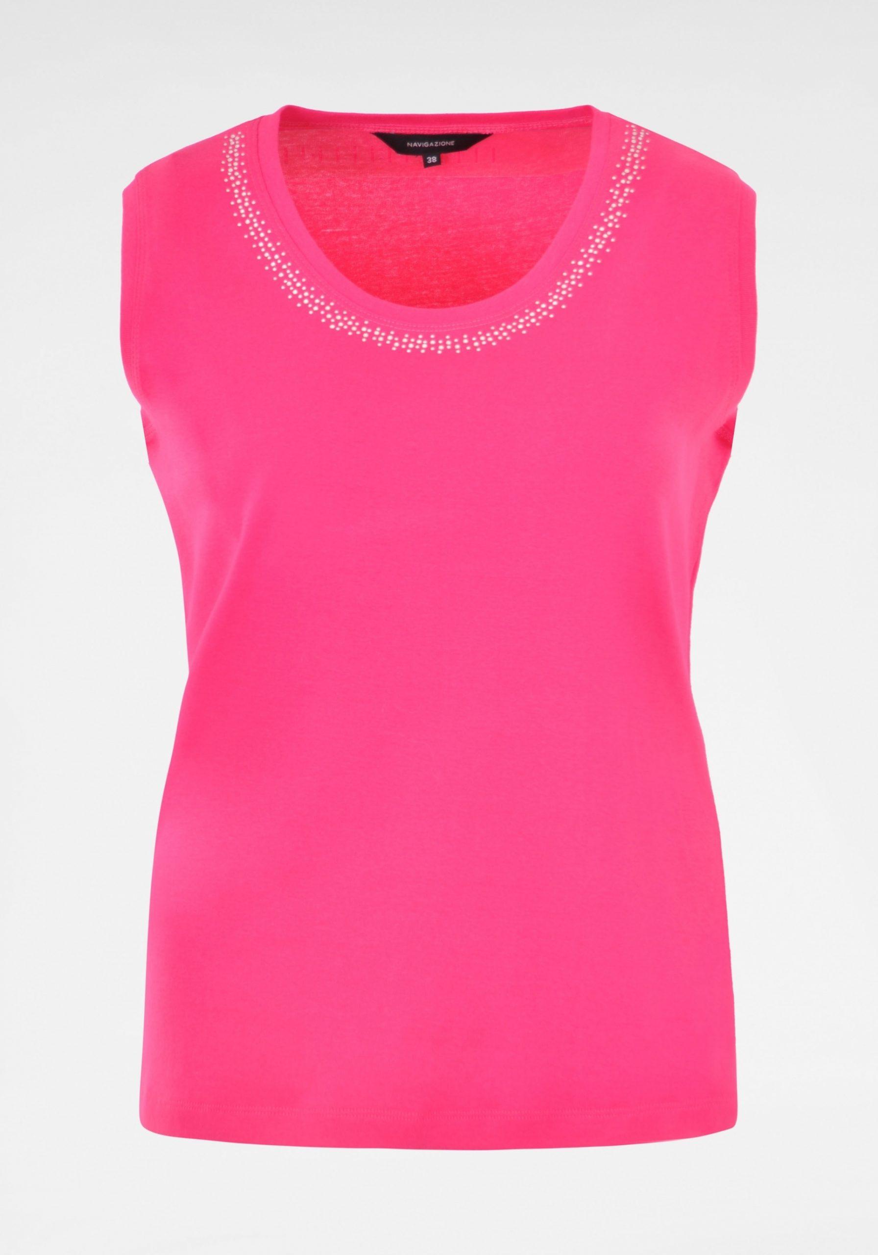 Top mit Steinchenverzierung Damen pink
