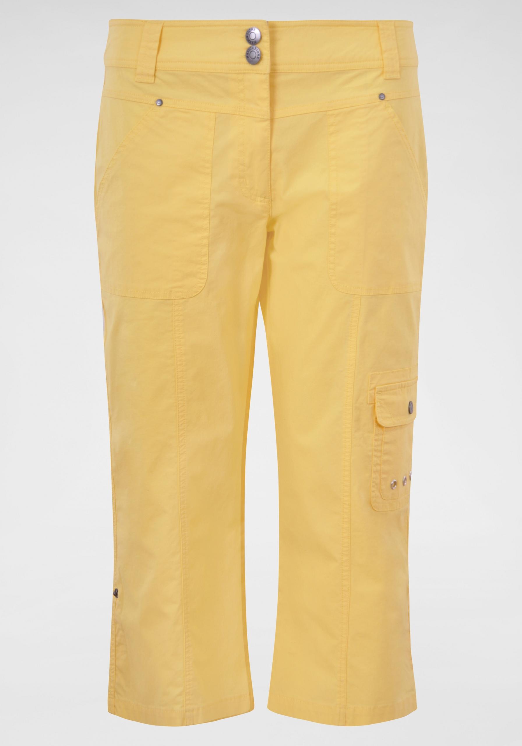 Damen Legere Caprihose gelb