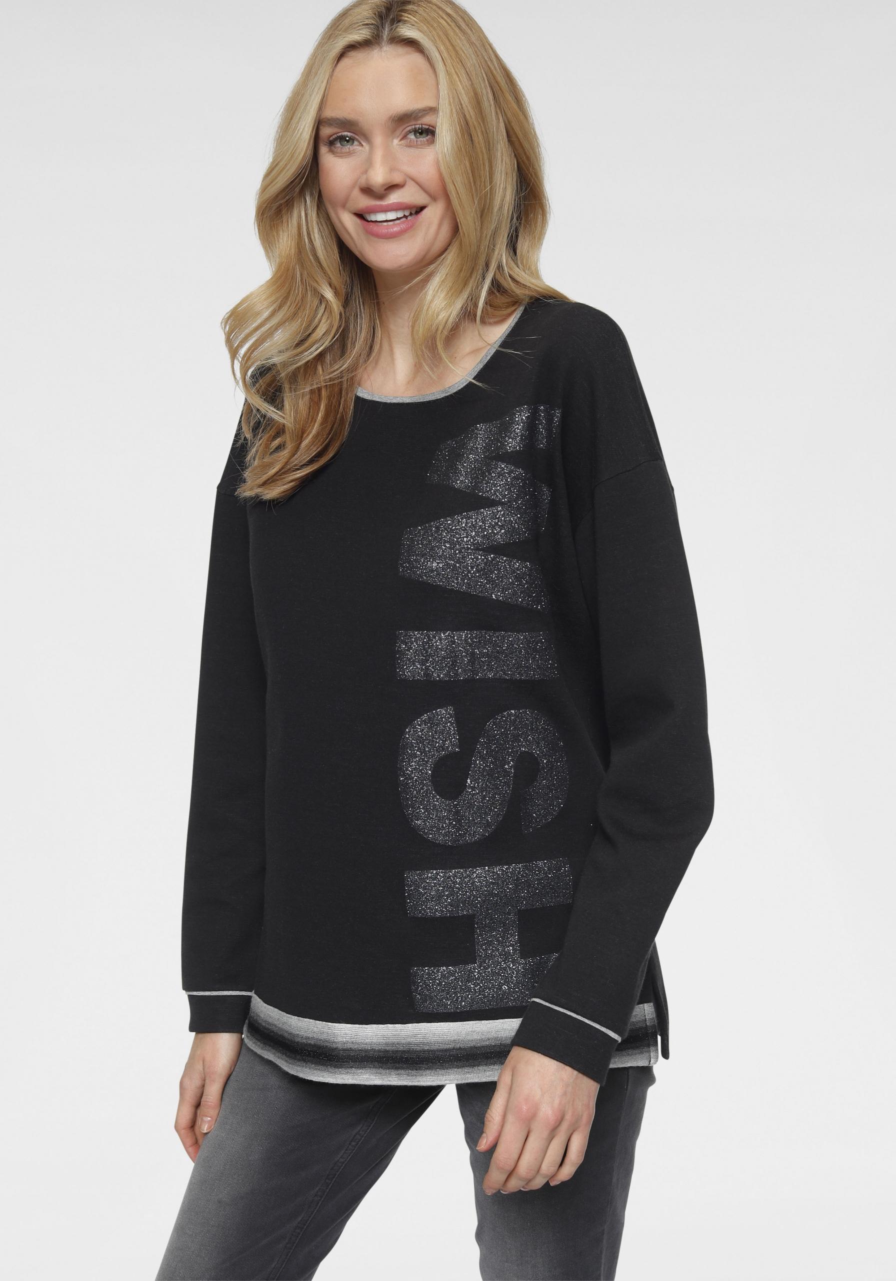 Damen Statement-Sweatshirt schwarz