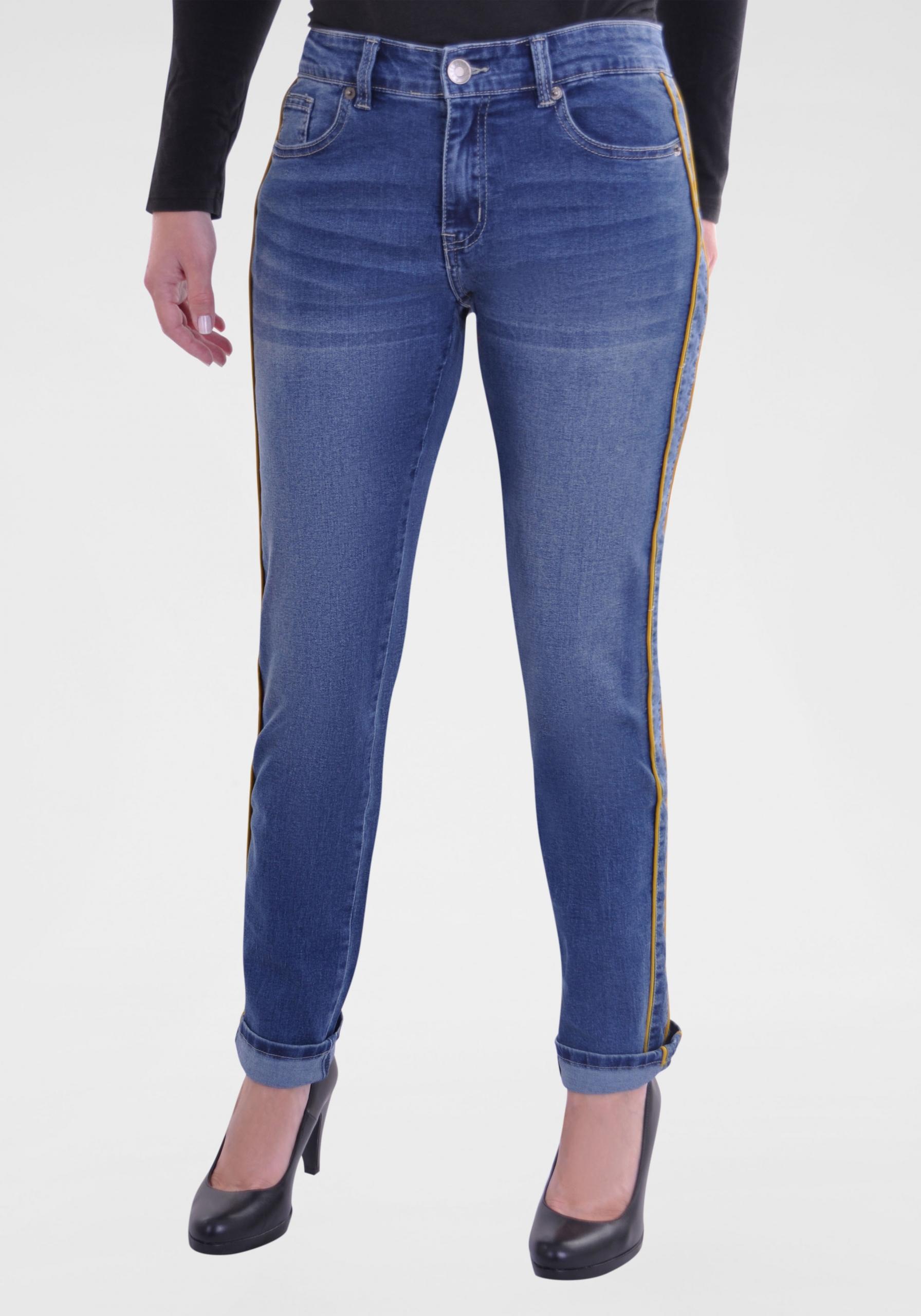 Damen Jeans mit Statement-Streifen blau