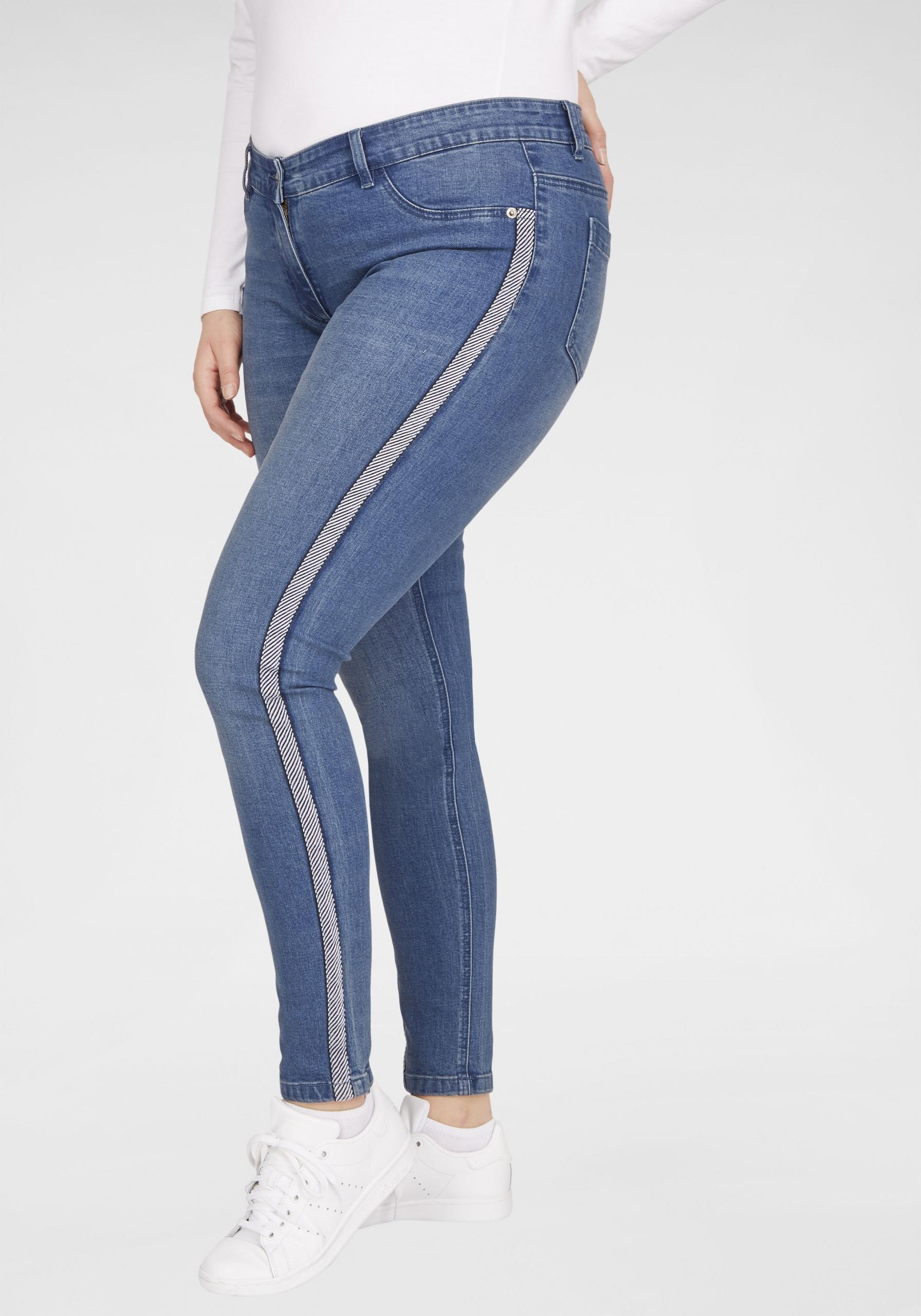 Damen Stretch-Jeans mit Galonstreifen in großen Größen blau