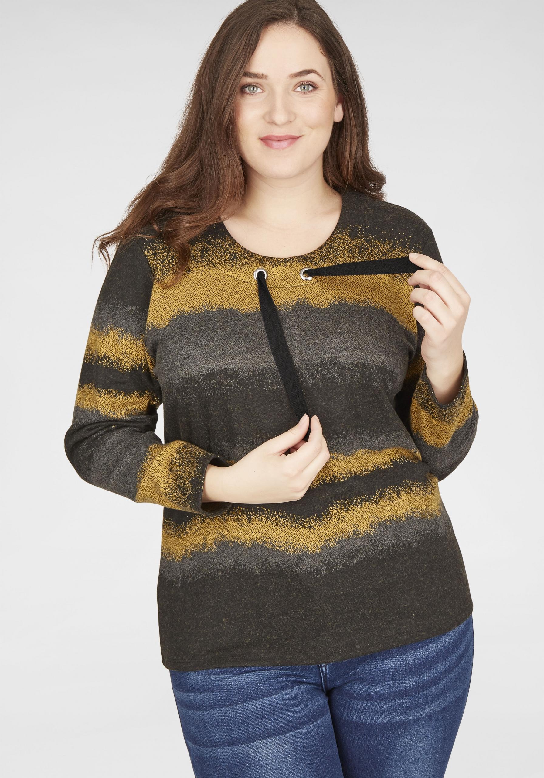 Damen Pullover mit Farbverlauf in großen Größen gelb