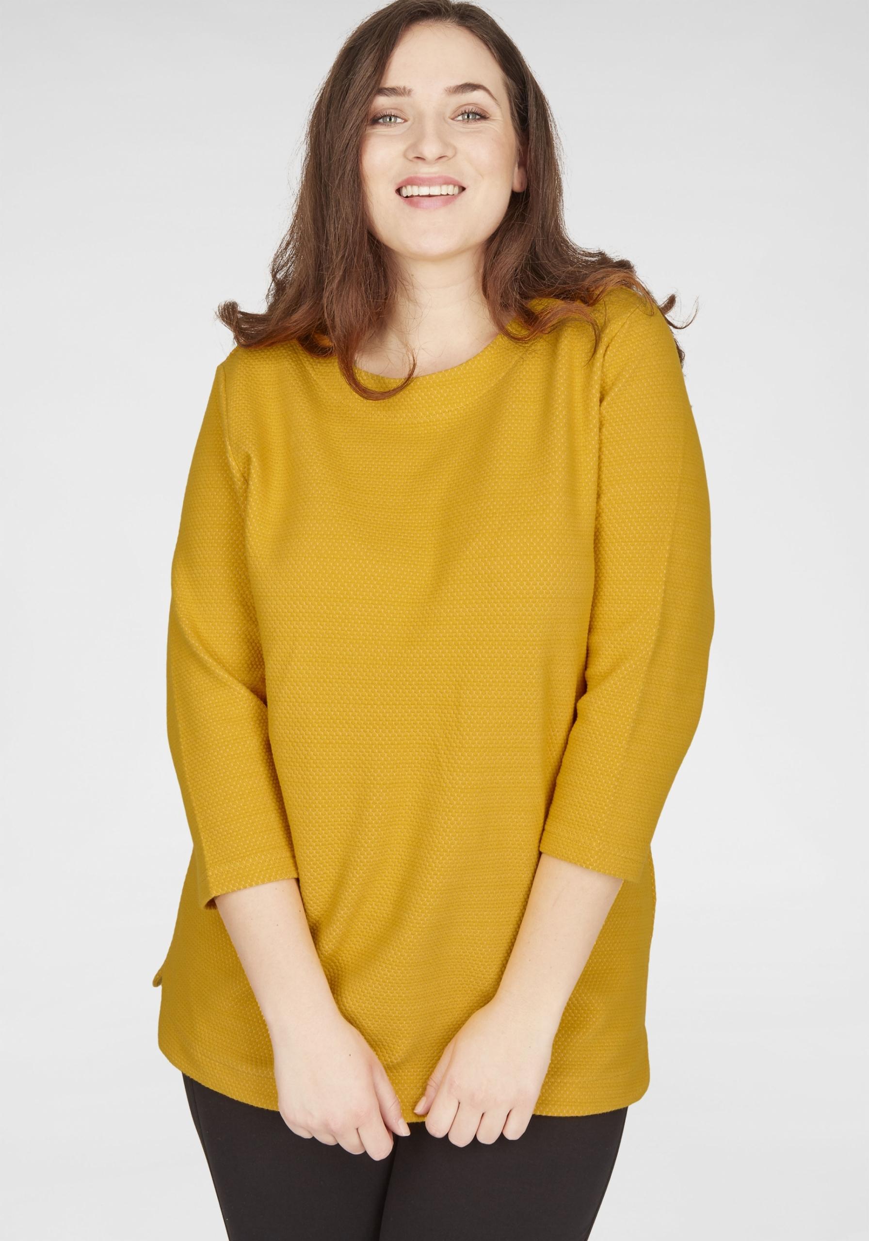 Damen Struktur-Sweatshirt mit 3/4-Arm gelb