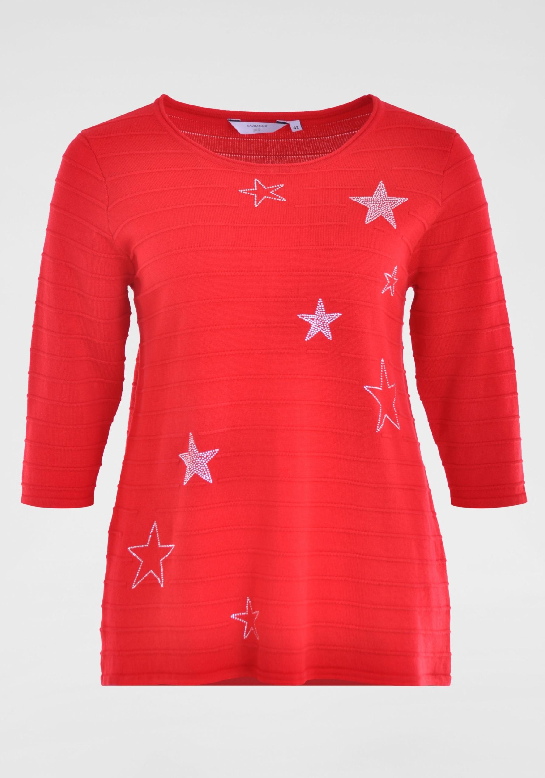 Damen Pullover mit Strass-Sternen in großen Größen rot