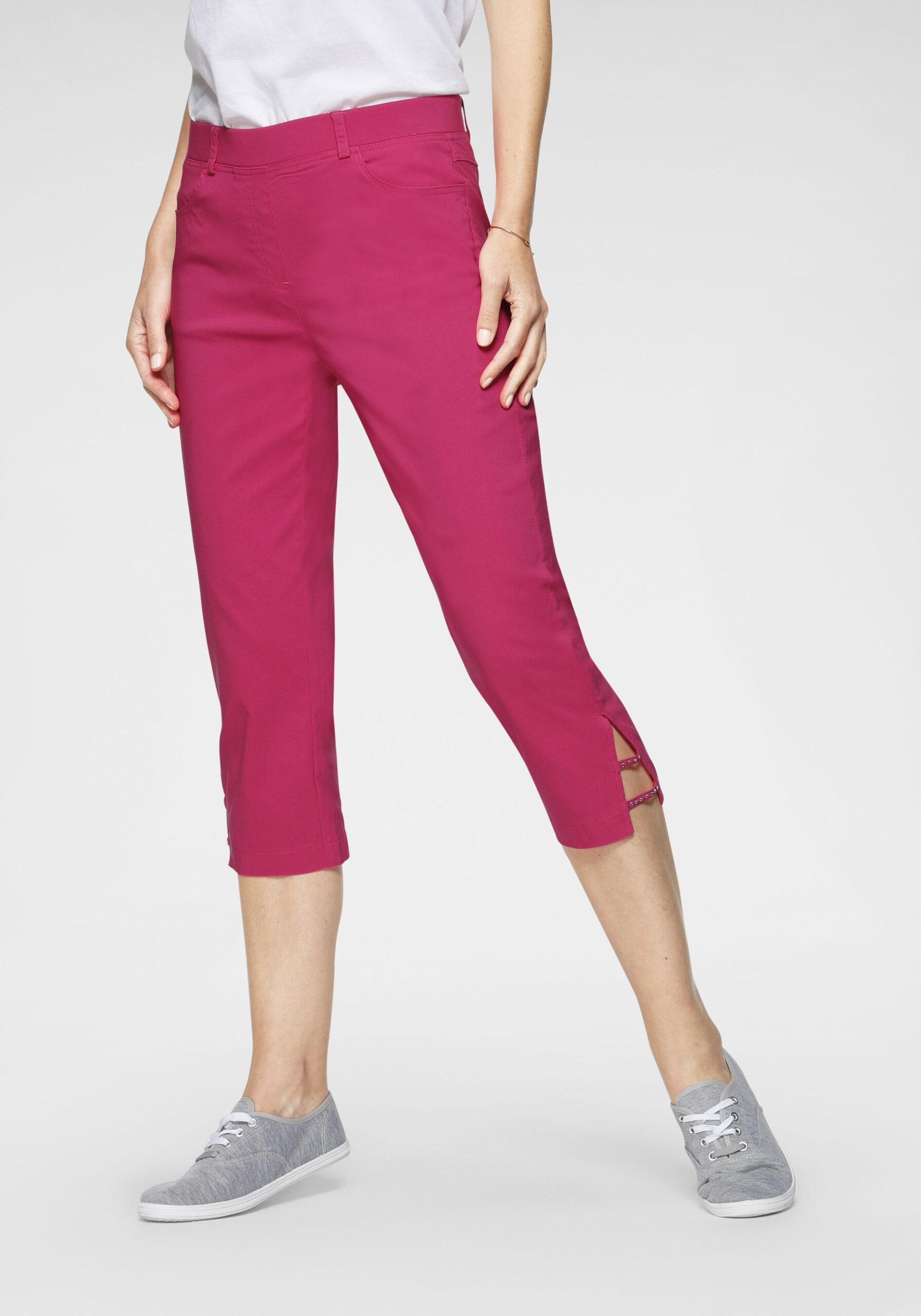Damen Stretch-Hose mit Strass-Beinschlitz pink
