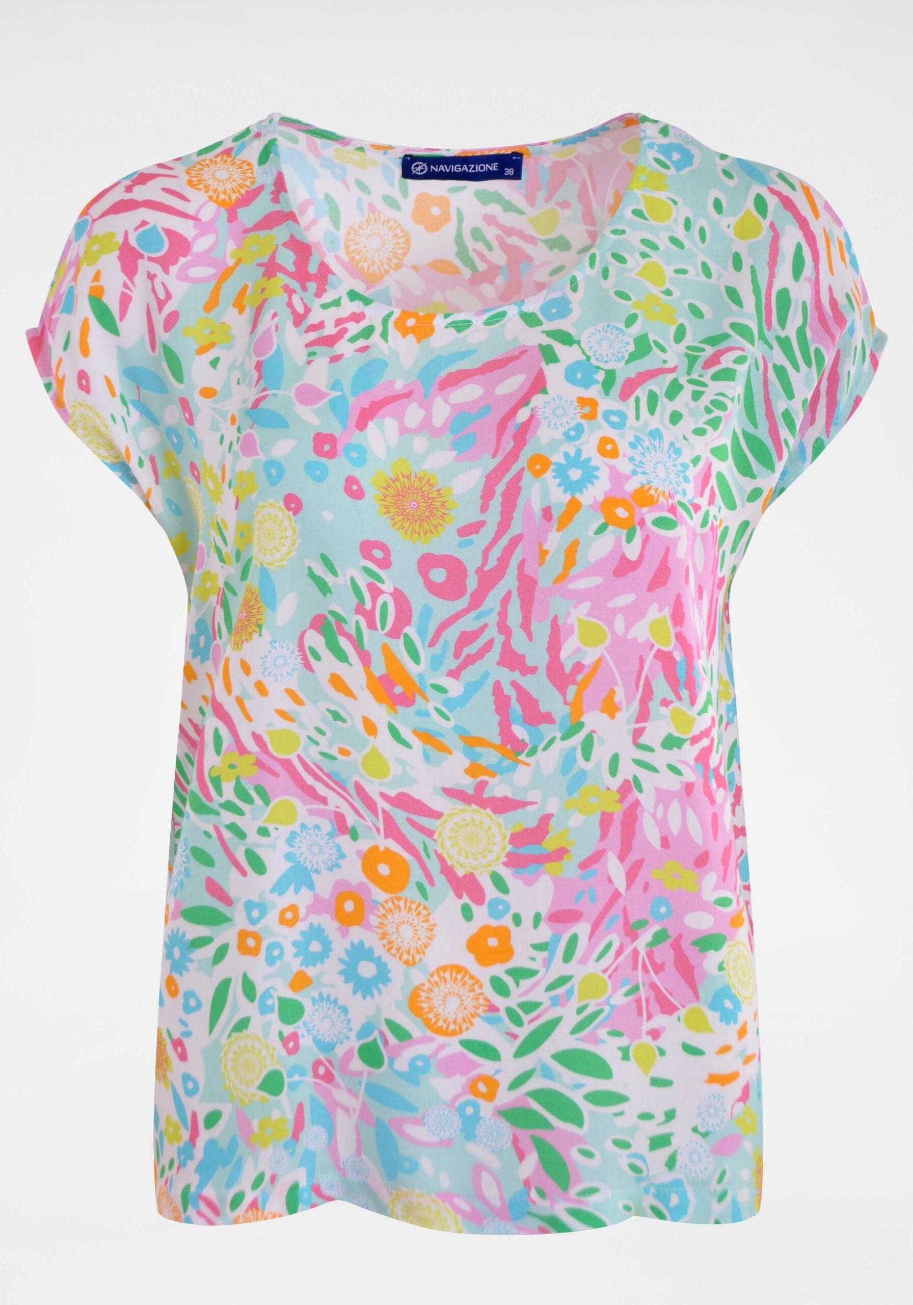 Damen Viskose-Bluse im Blumen-Print
