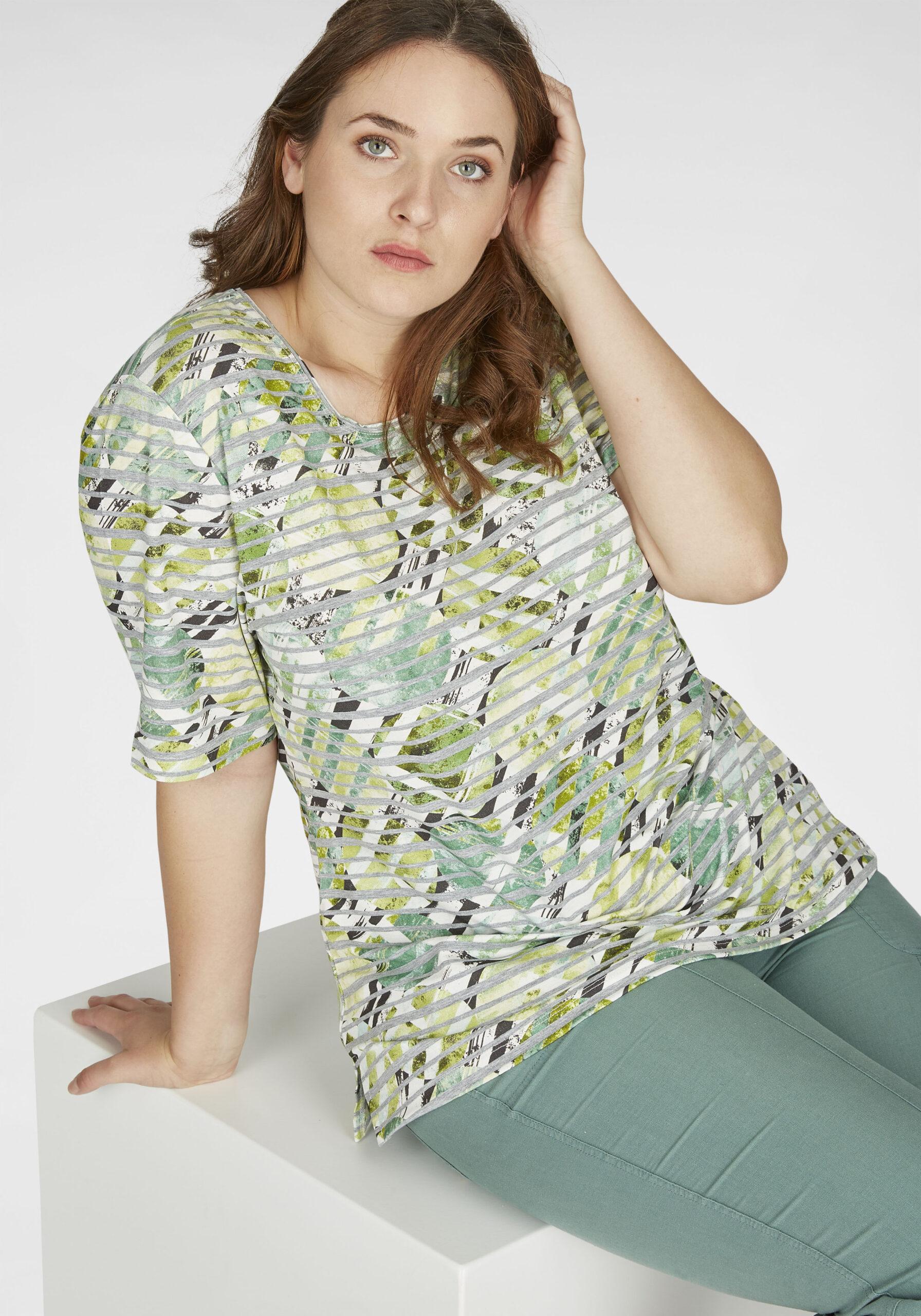 Damen Shirt mit Kreis-Design in großen Größen grün