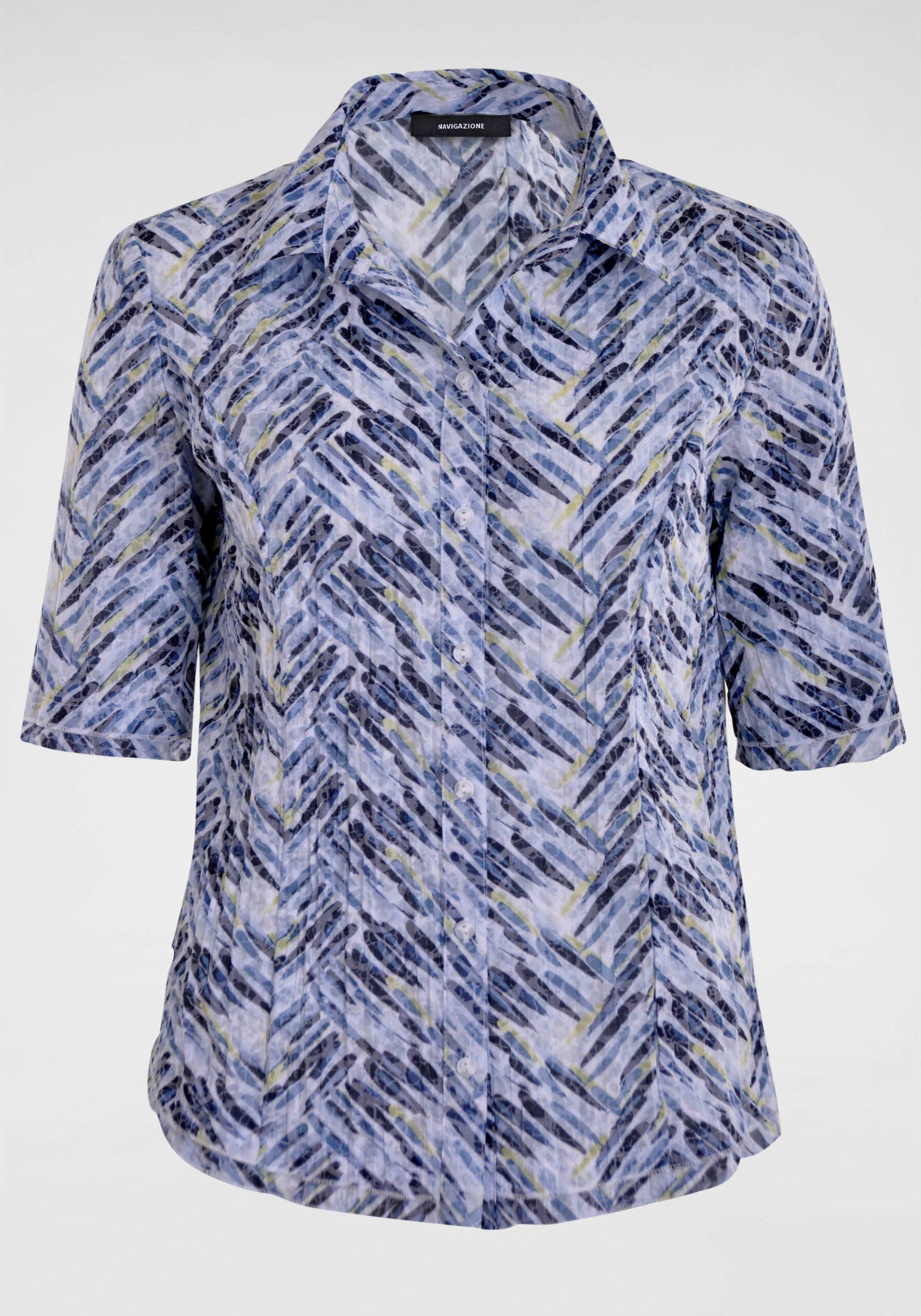 Damen Bluse in frischen Farben blau gelb