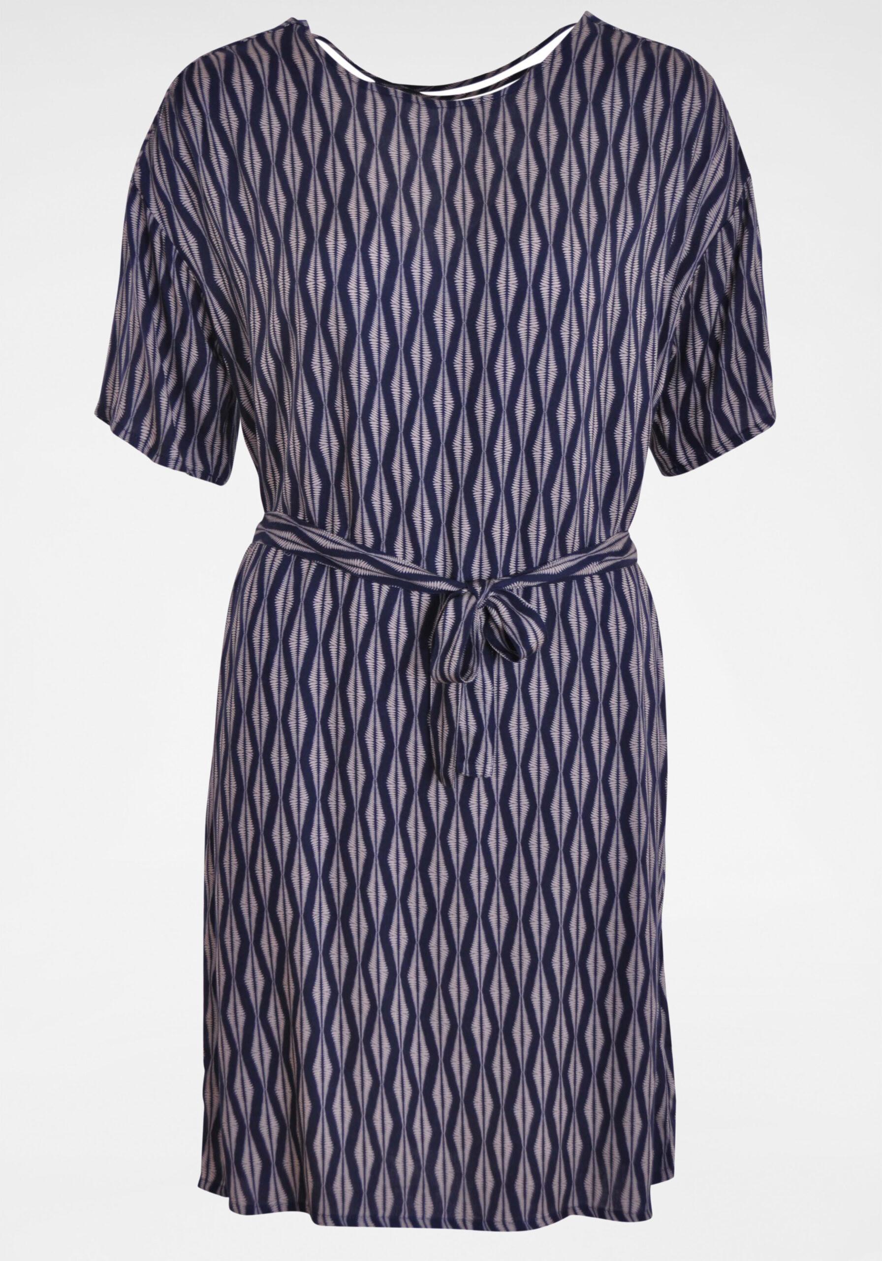 Damen Viskosekleid mit Klassik-Muster blau