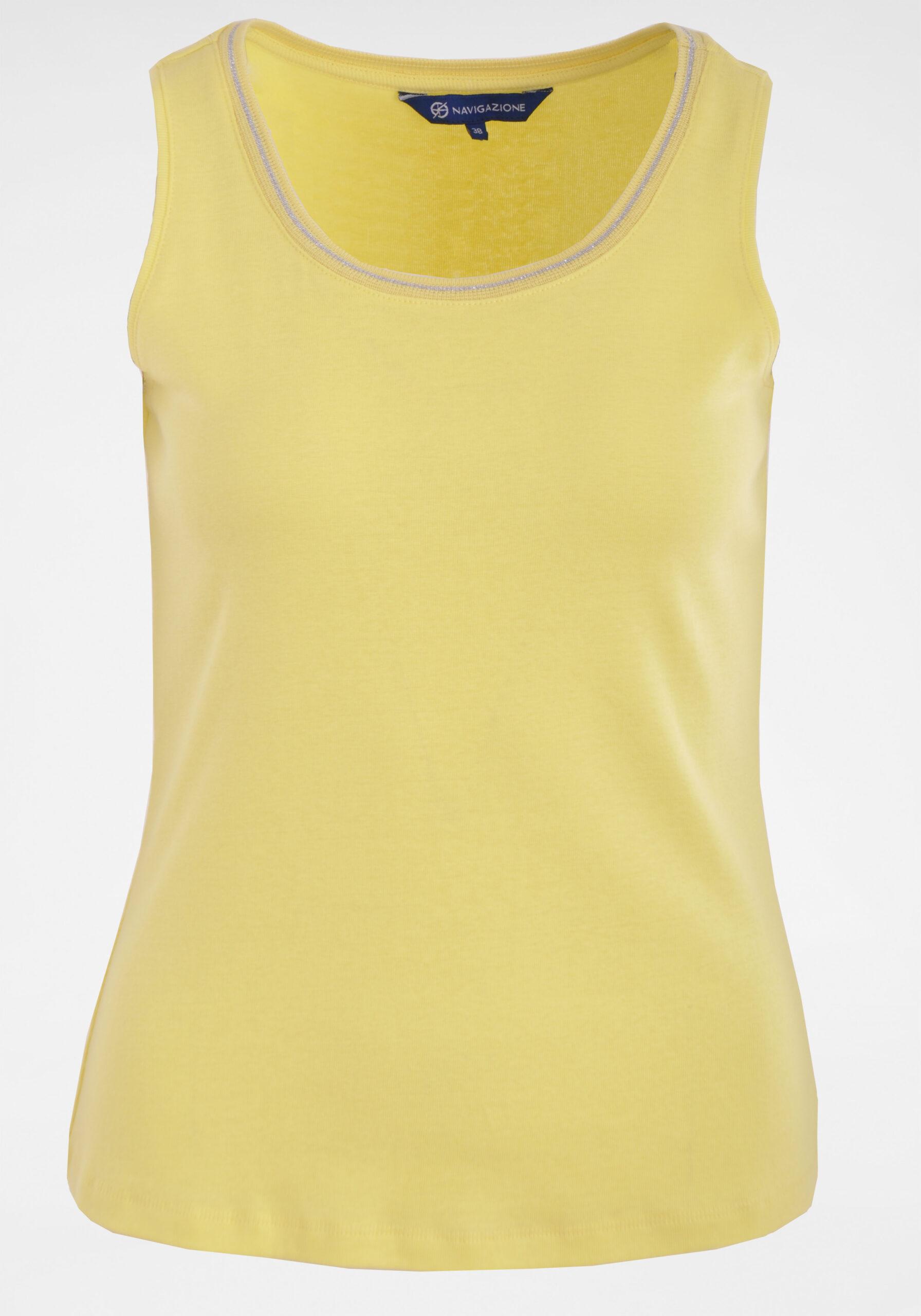 Damen Top mit Lurex-Zierstreifen gelb