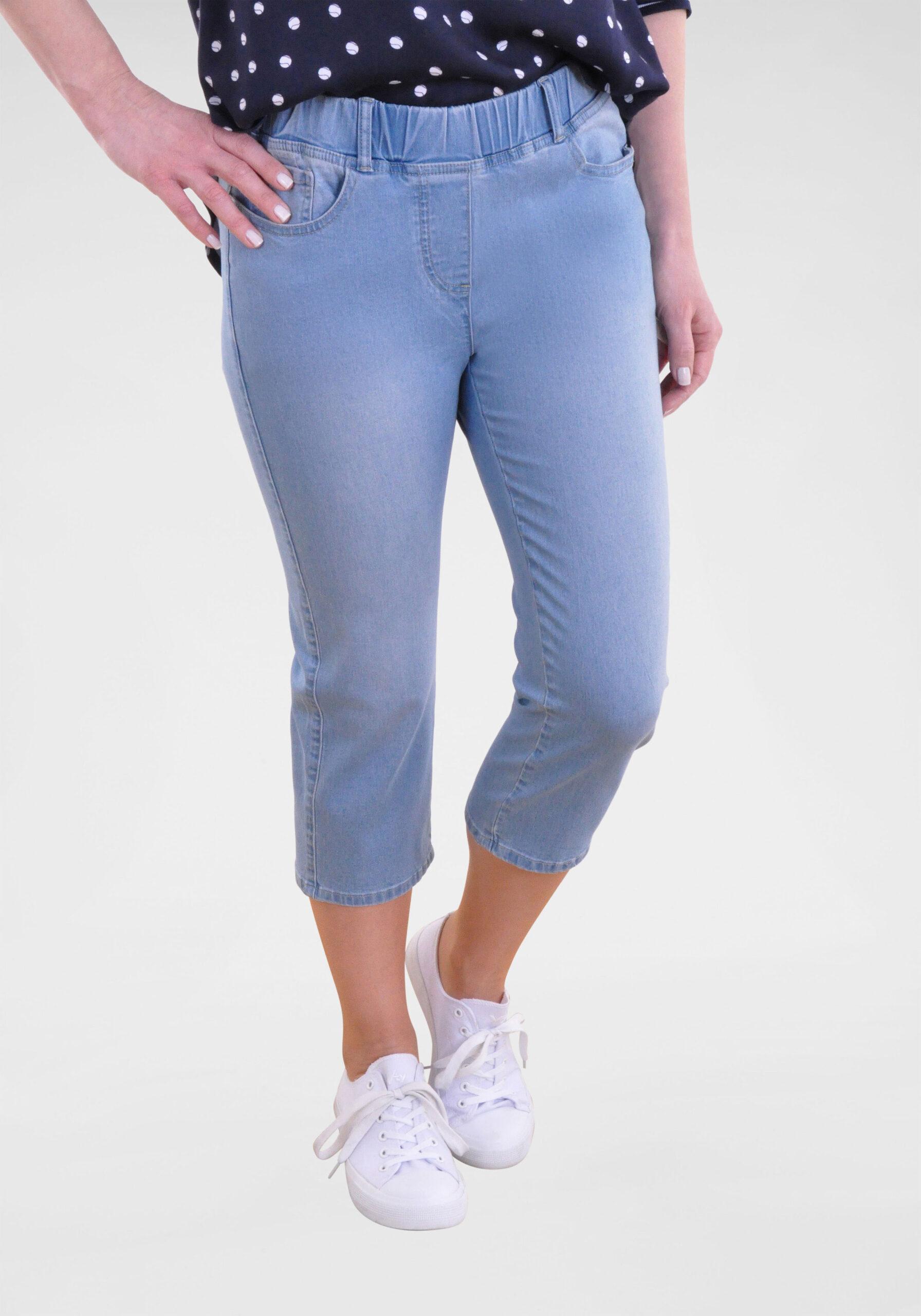 Damen Stretchige Capri-Jeans Hellblau