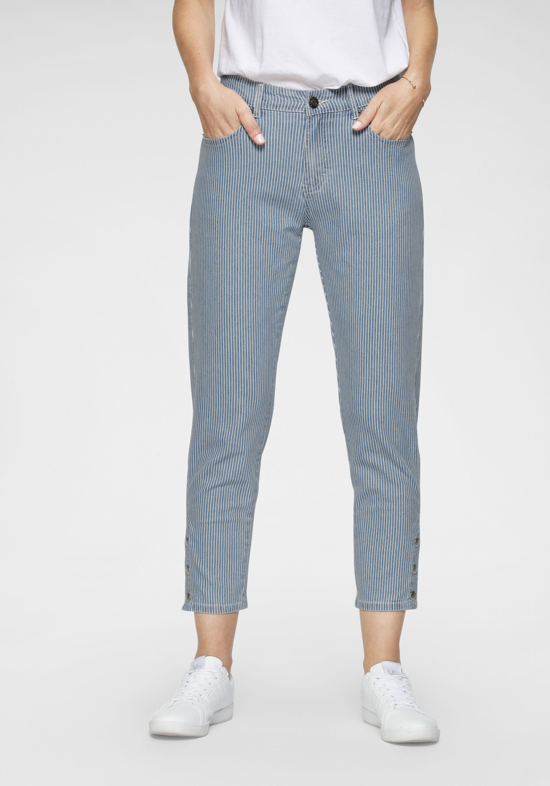 Damen Gestreifte 7/8-Jeans mit Highlights
