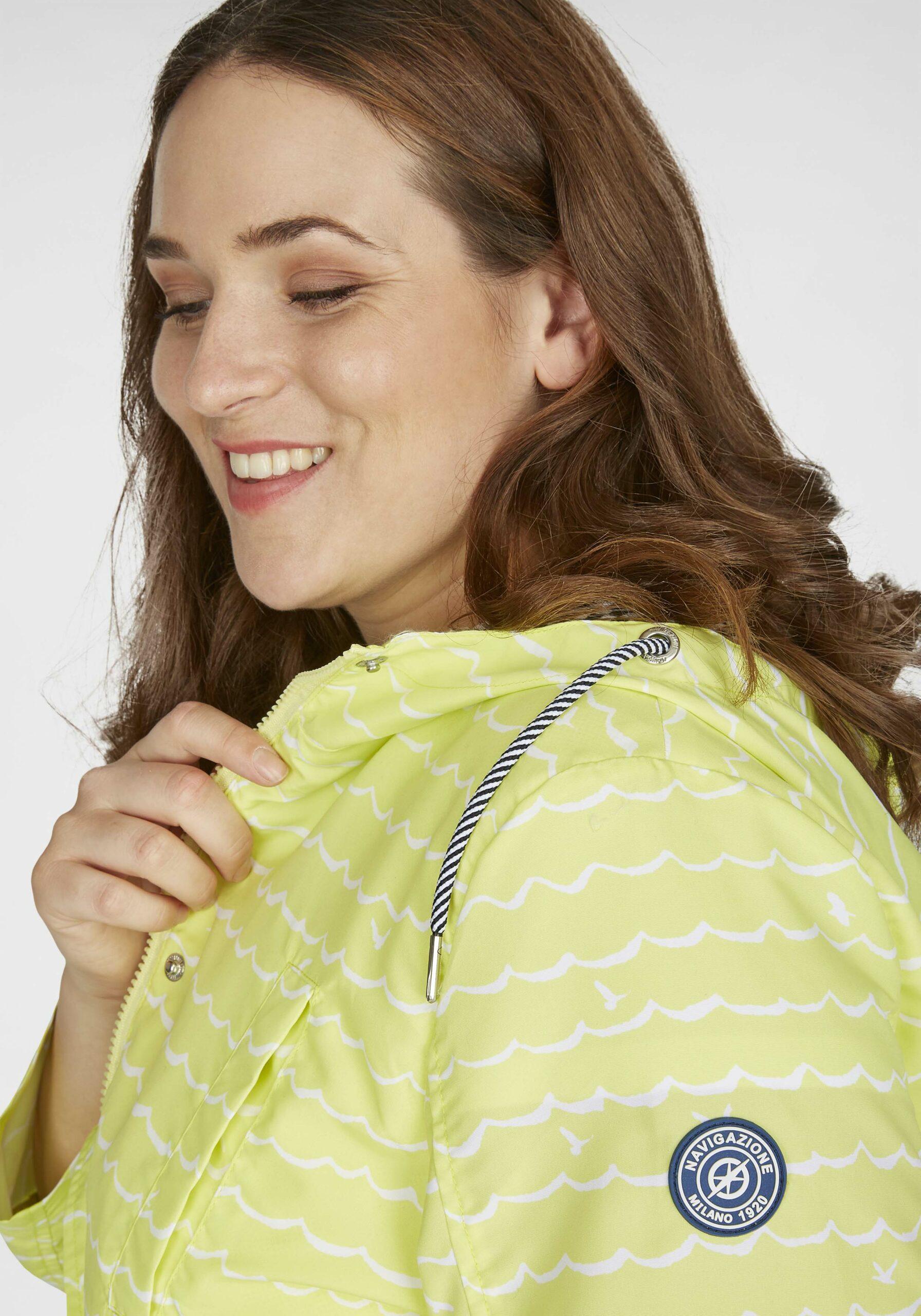 Damen Leuchtende Jacke im Wellenprint gelb in großen Größen