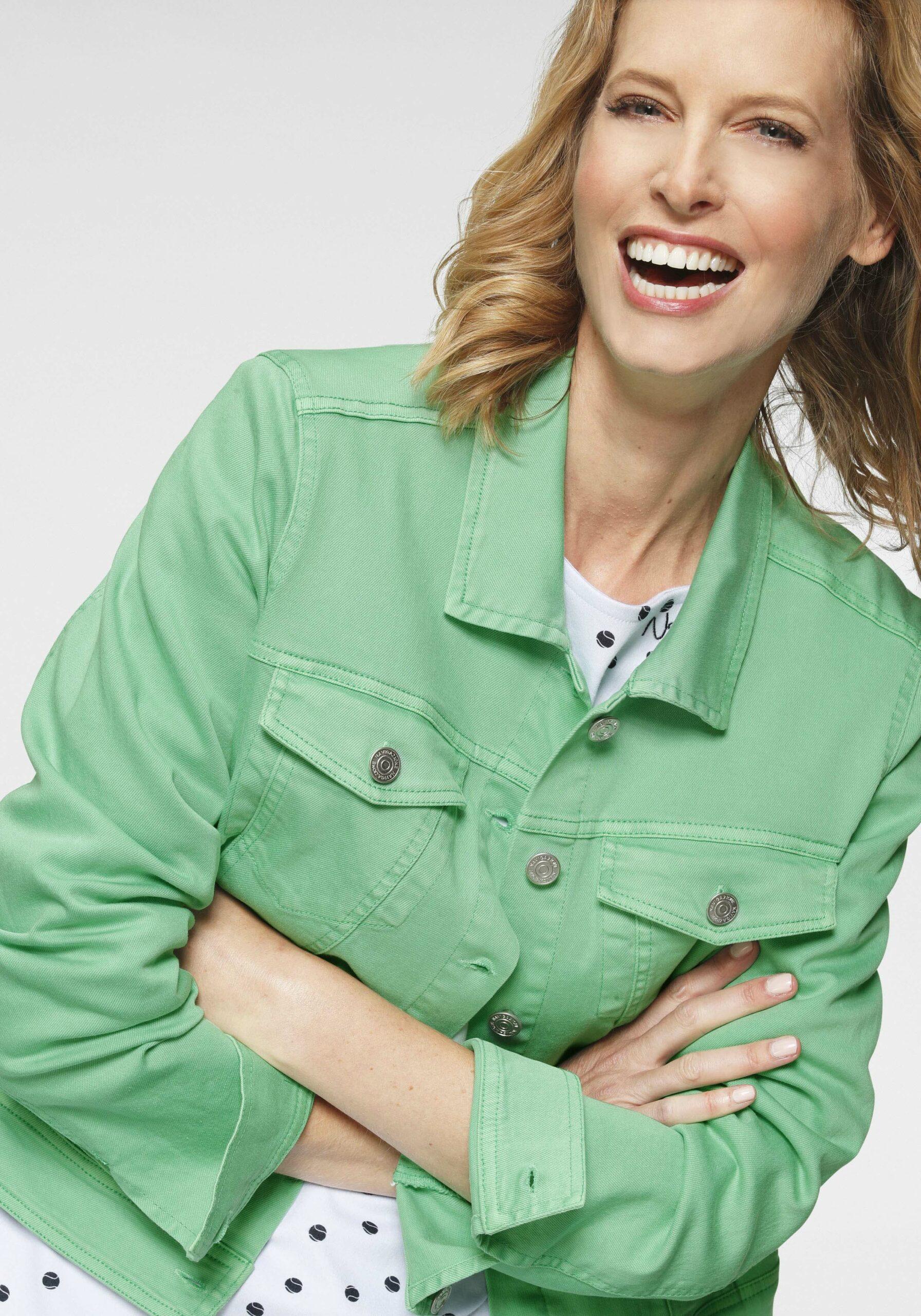 Damen Modische Jeansjacke Grün