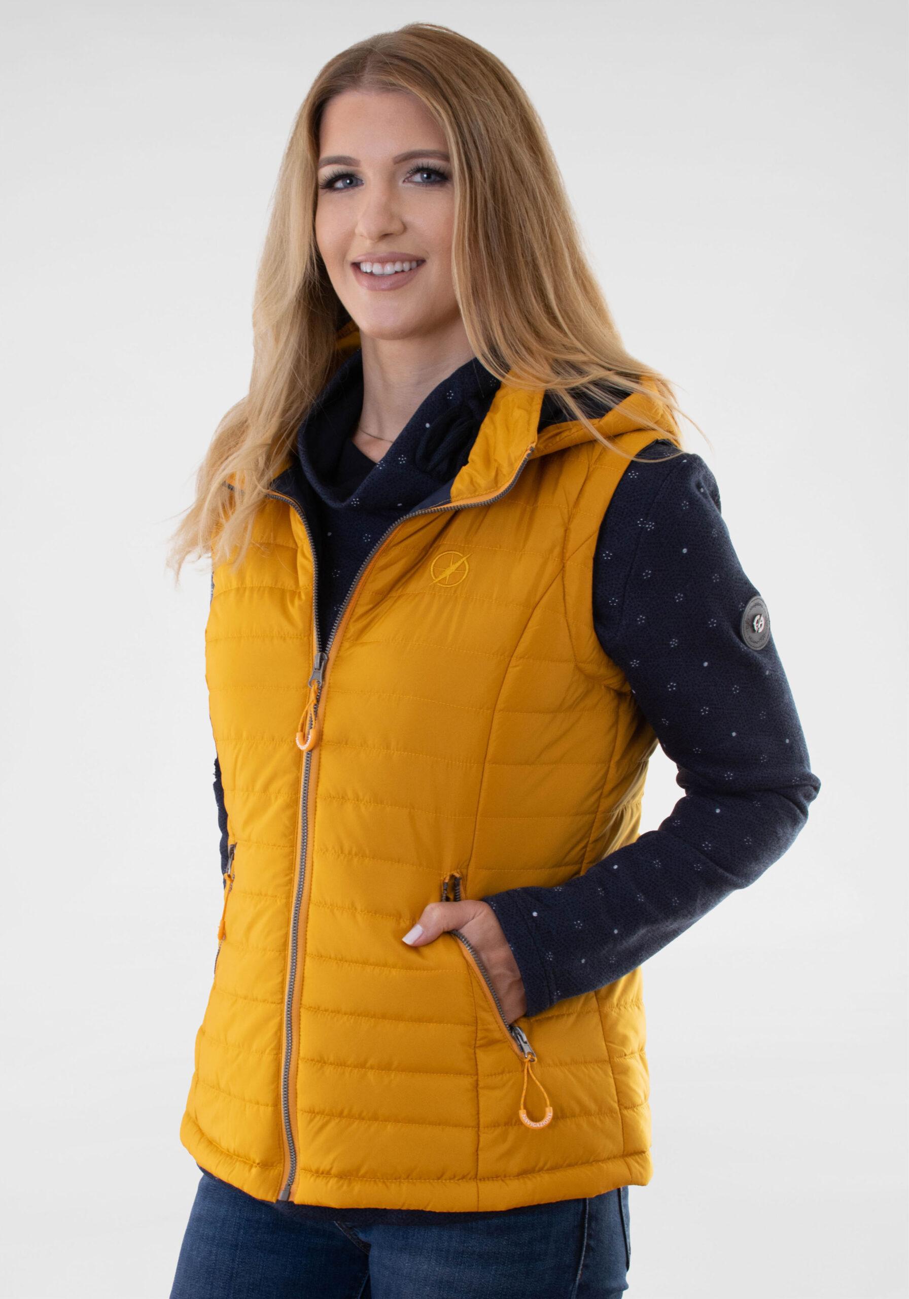 Damen Steppweste mit Kontrastfarbe Gelb