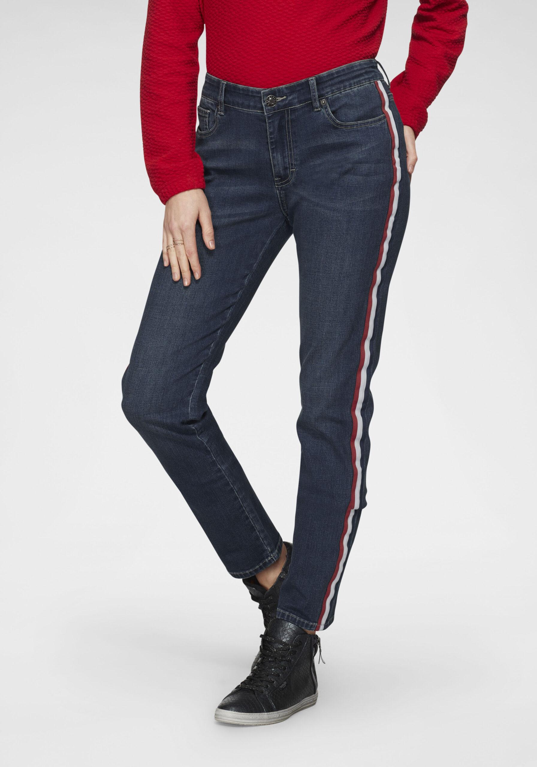 Damen Five-Pocket-Jeans mit Galonstreifen Blau
