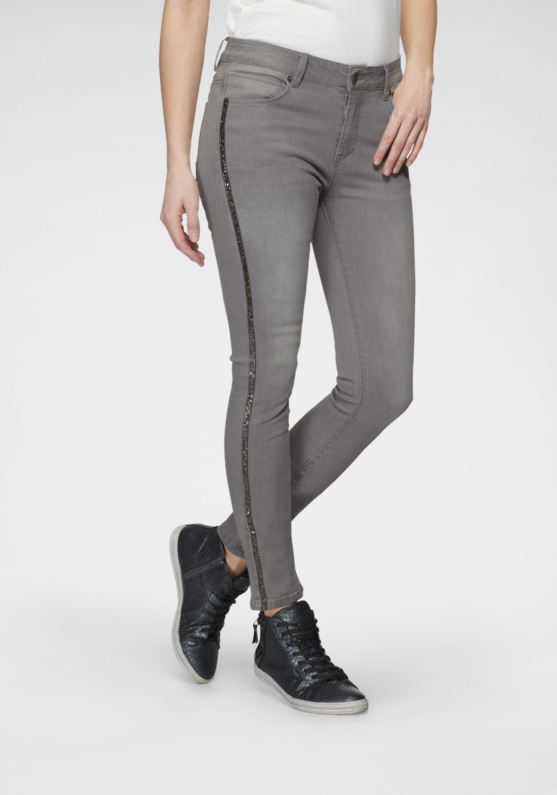 Damen Jeans mit Glanz-Streifen Grau